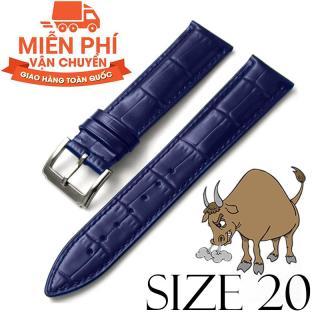Dây đồng hồ da bò cao cấp BO3 SIZE 20mm (xanh navy) thumbnail