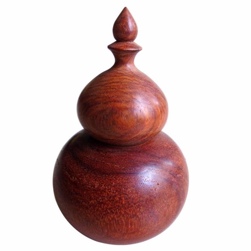 Hủ đựng tăm hồ lô gỗ hương nguyên khối cao cấp