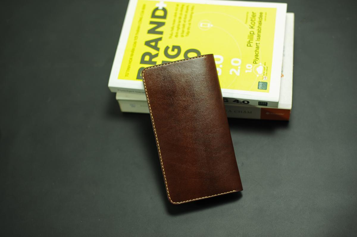Ví dài cầm tay nữ nâu handmade - Da bò - Ví dài cầm tay nữ Mino Crafts VI248
