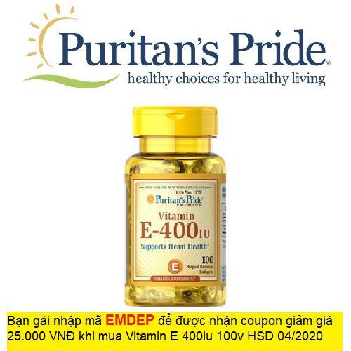 Viên uống bổ sung Vitamin E giúp đẹp da, chống lão hóa, hỗ trợ tim mạch Puritan's Pride Vitamin E-400 IU 100 viên hạn sử dụng: 04/2020