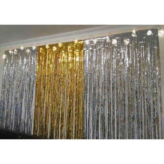 Rèm kim tuyến màu vàng trang trí background các tiệc sinh nhật , đám cưới ,khai trương,...