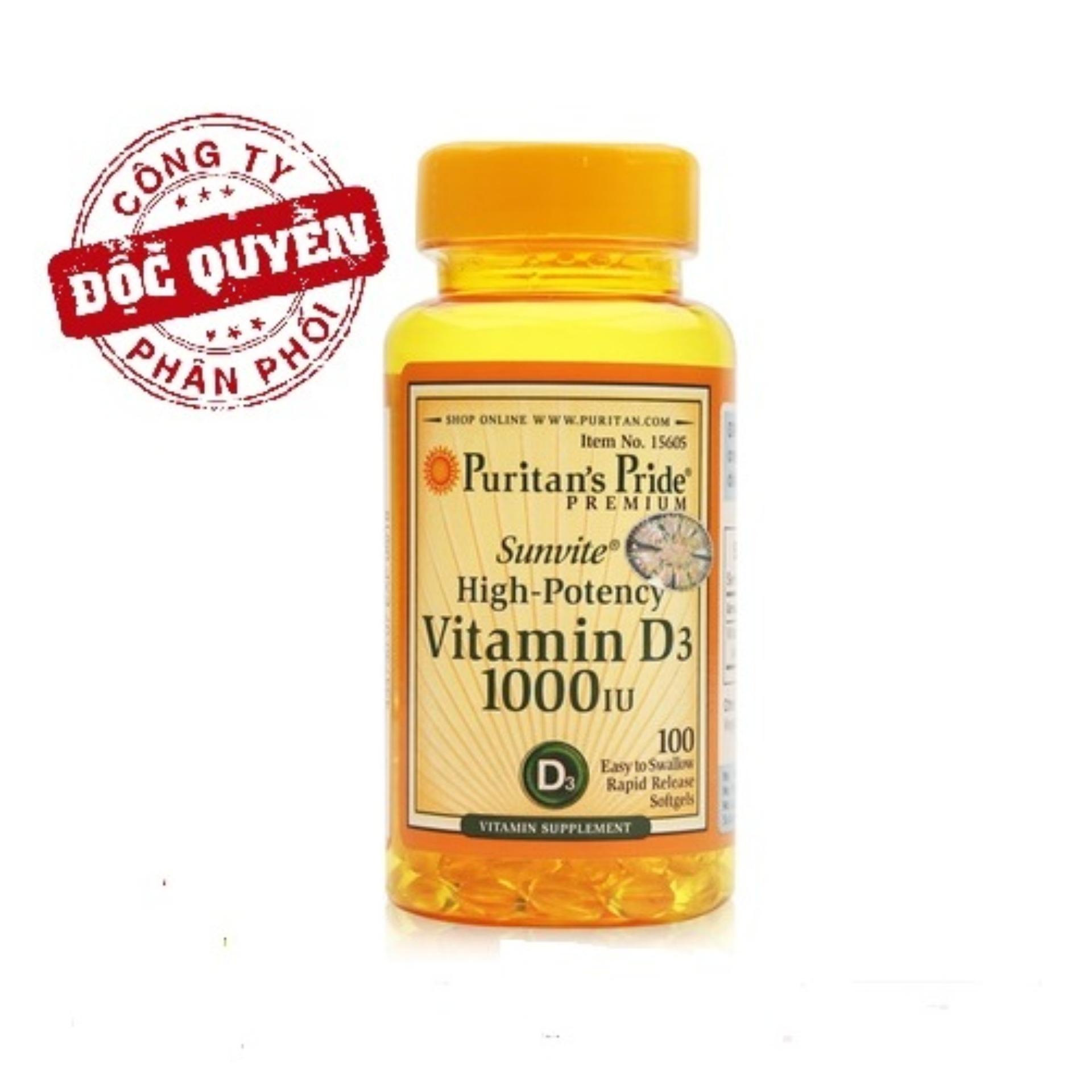 Viên uống bổ sung Vitamin D tăng cường hệ miễn dịch, phòng chống còi xương Puritan's Pride Sunvite High-Potency Vitamin D3 1000IU 100 viên