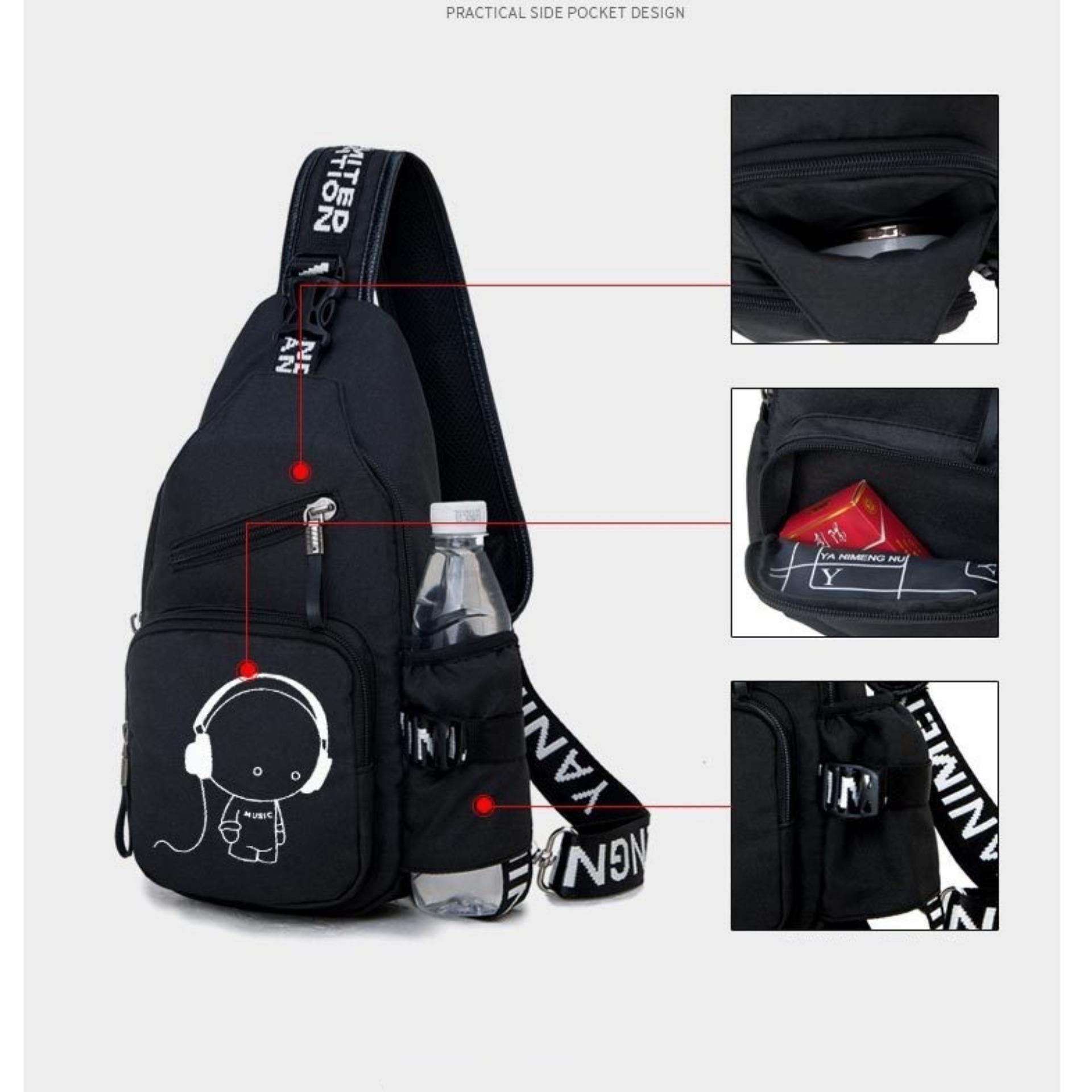 Túi đeo chéo 1 QUAI thể thao du lịch MUSIC3 (Đen)