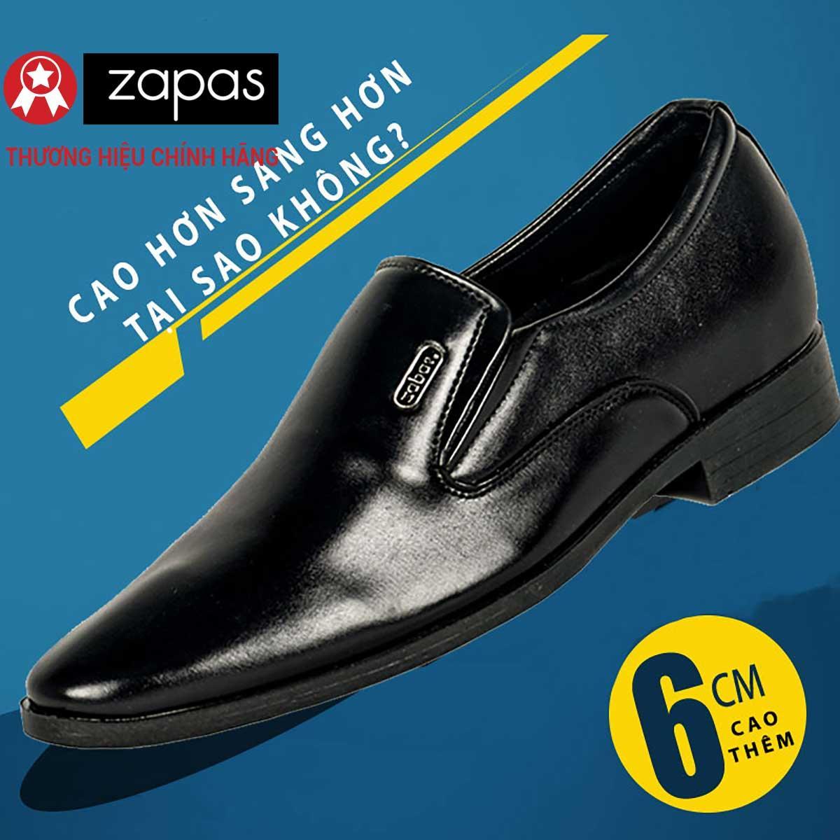 Giày Tây Tăng Chiều Cao 6 Cm Zapas Màu Đen Gh010