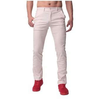 INCERUN Mens 100% Cotton Slim Fit Jeans Straight Cargo Work Pants Trousers 30-44 Beige - intl