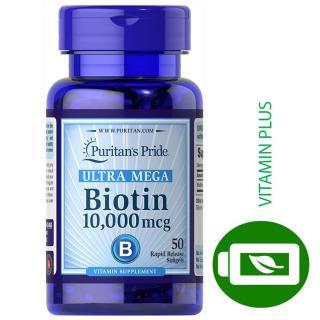Viên uống mọc tóc Biotin 10,000 mcg,Giảm tóc gẫy dụng ,kiềm dầu cho da nhờn Ultra Mega biotin Puritan s pride 50 viên thumbnail