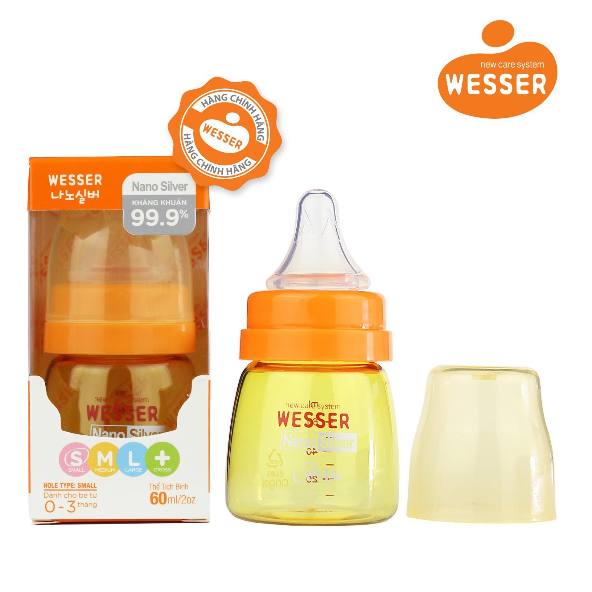 Bình sữa Wesser Nano Silver cổ hẹp 60ml ( Màu...