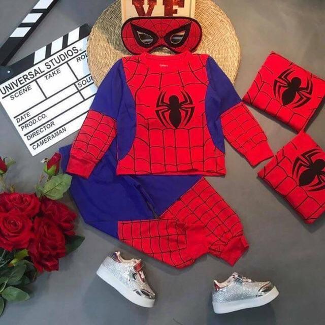 Set Đồ Bộ Bé Trai Người Nhện Spider Man Dài A20