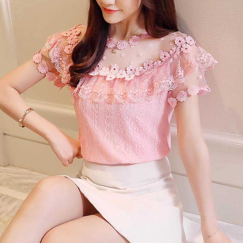 SHORT-Sleeve TOP Women's Lotus Leaf dot Lace SHIRT