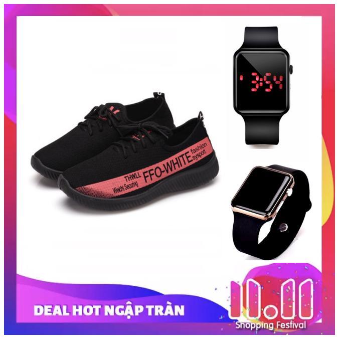 Giày Sneaker Thể Thao Nam nữ ACG – GS011 (Đen xanh-Đỏ đen-Đen Xám) + Tặng Đồng hồ điện tử thể thao chống nước mặt gương vuông, dây cao su (Đen)