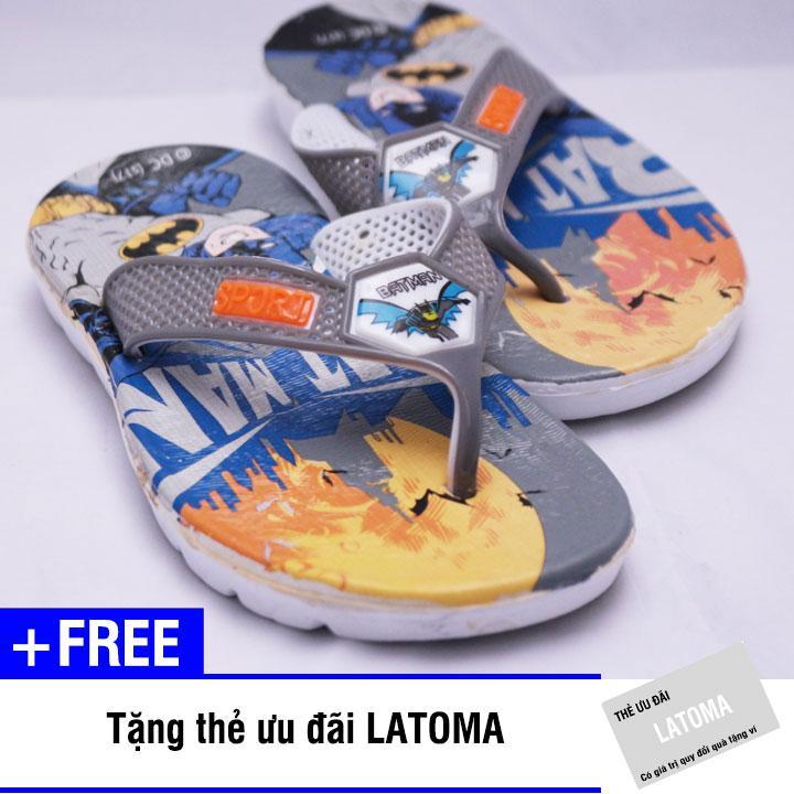 Dép xỏ ngón bé trai họa tiết siêu nhân cao cấp Latoma TA1201 (Xám)+ Tặng kèm thẻ ưu đãi Latoma