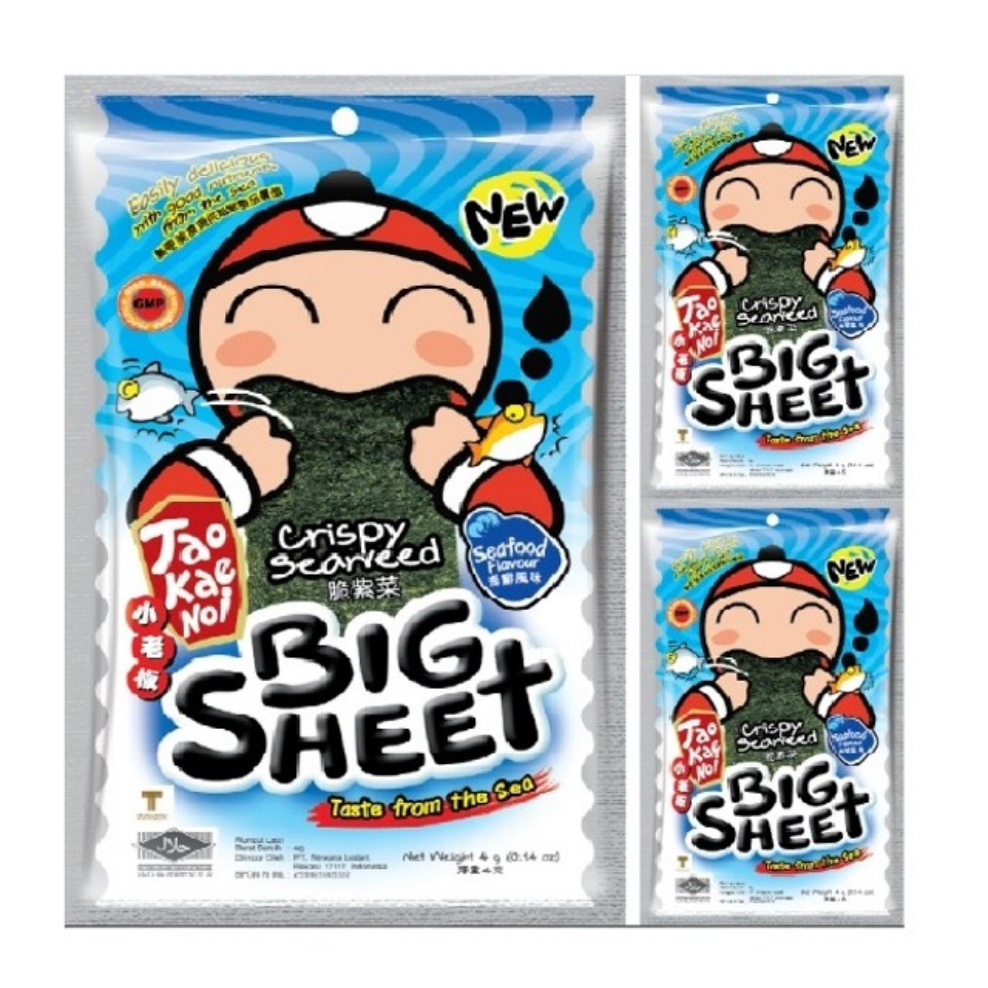 Combo 2 Gói Snack Rong biển Taokaenoi Sấy Big Sheet vị Hải Sản 4g