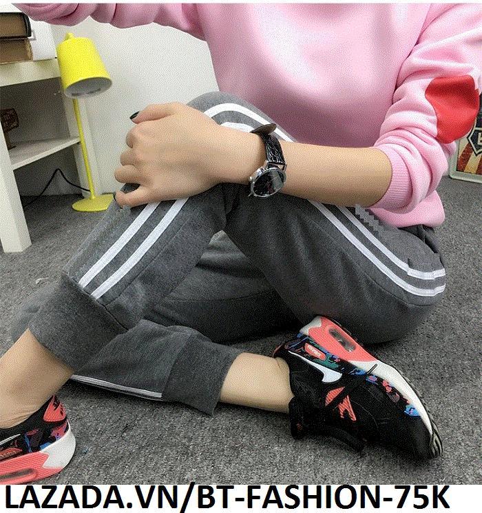 Quần Dài Nữ Thun Phom Rộng Jogger Thể Thao Thời Trang Hàn Quốc - BT Fashion (Hai Sọc 01)