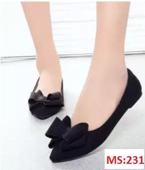 Giày búp bê da lộn nơ xinh xắn - MS:231