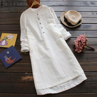 Đầm sơ mi ZANZEA dài tay cổ đứng đơn giản thanh lịch, chất liệu 100% cotton, thiết kế thời trang thumbnail