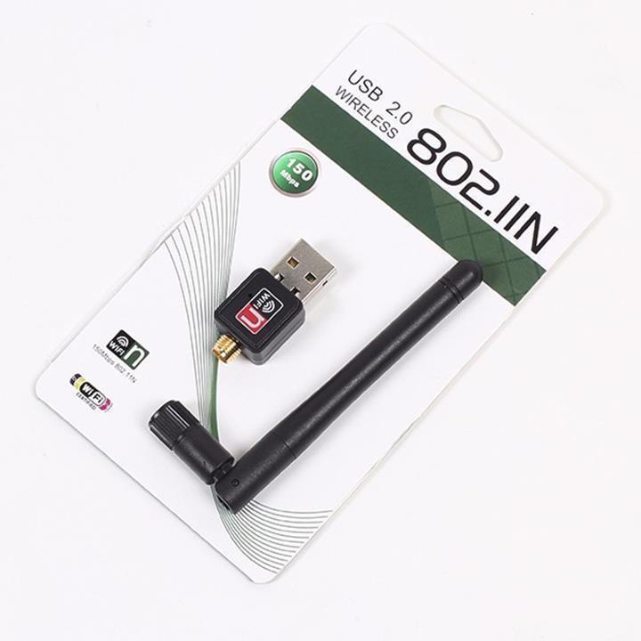 usb thu wifi cho pc 802 hổ trợ 1 ăng ten thu sóng cực mạnh tốc độ 150mp