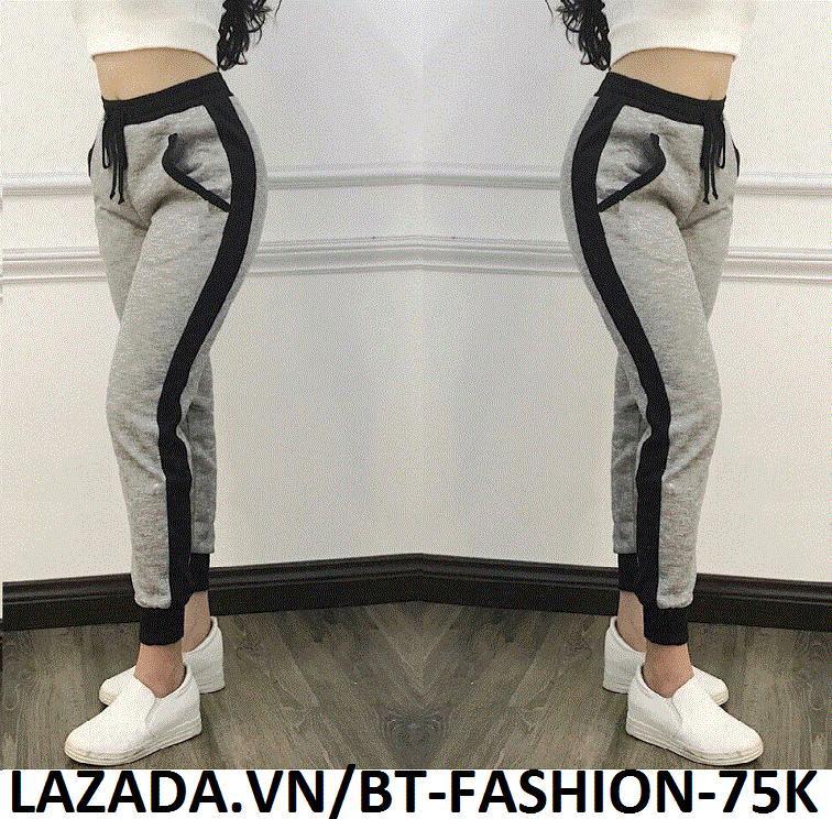 Quần Dài Nữ Thun Phom Rộng Jogger Thể Thao Thời Trang Hàn Quốc - BT Fashion (Sọc Bo - 04)