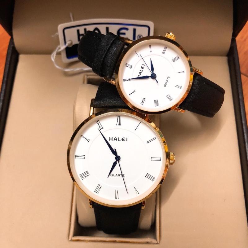 Cặp Đồng hồ nam nữ Halei dây da mặt tròn thời thượng  TẶNG 1 vòng may mắn - Dây đen mặt trắng kim xanh