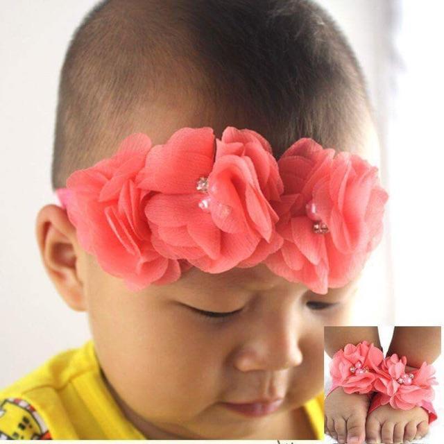 Combo: băng đô trên đầu và băng đô chân cho bé gái