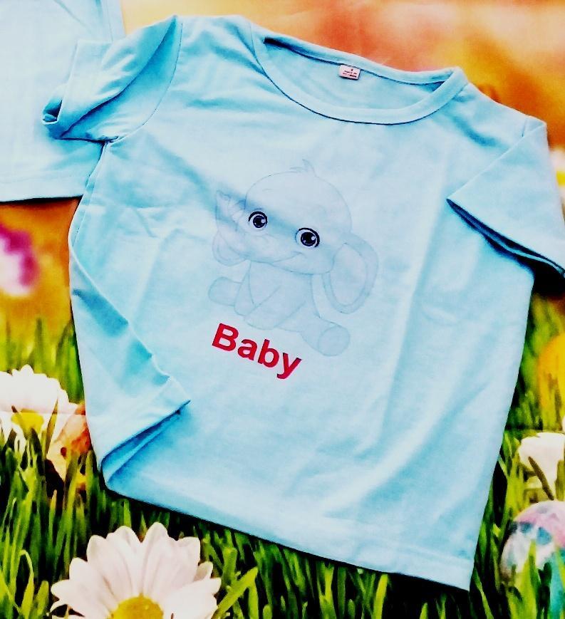 Bộ áo thun voi con màu xanh  (baby)