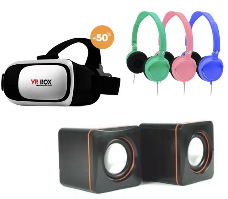 Kính thực tế ảo xem phim 3D VR Box phiên bản 2.0 màu trắng + Loa 101c + Tai nghe chụp tai cực bass gấp gọn được
