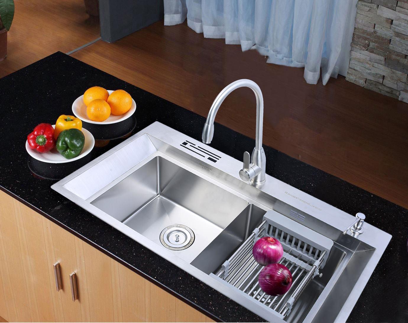 Bộ chậu rửa bát+vòi rửa bát nóng lạnh inox 304 RANOX RN2692