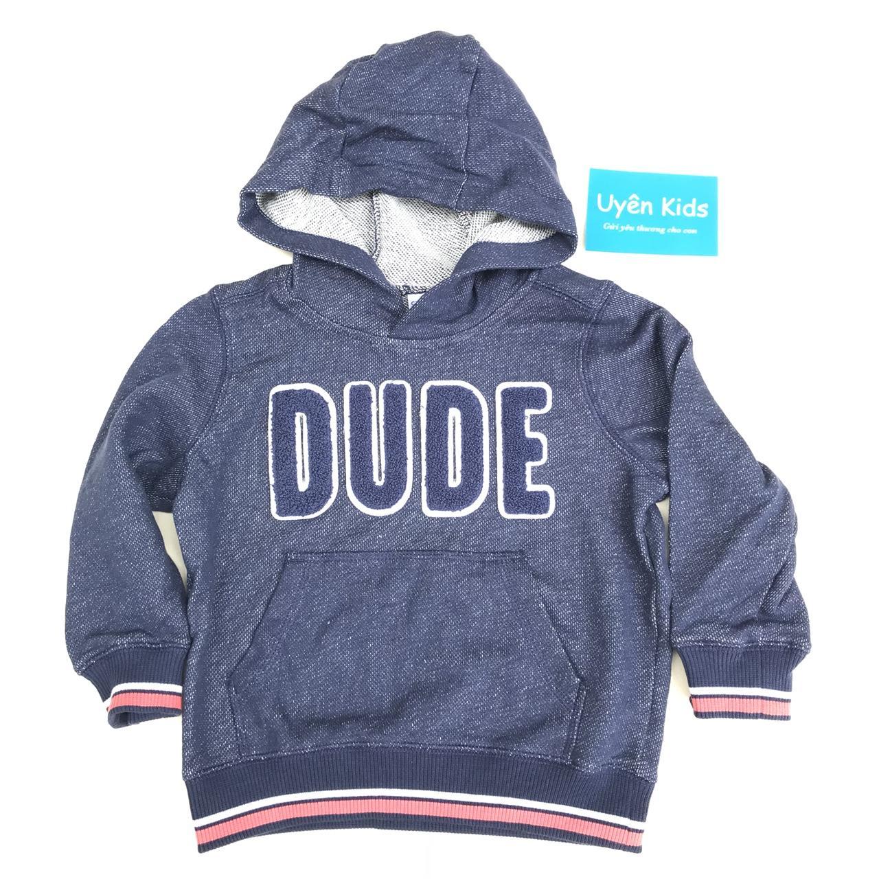 Áo Hoodie xuất khẩu bé trai 1-8T màu xanh