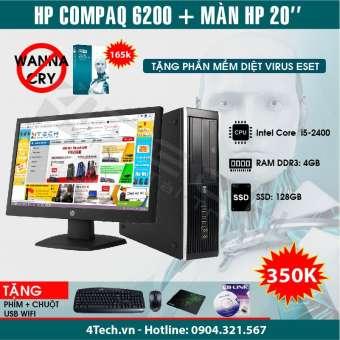 Máy tính để bàn HP 6200 core i5 2400, 4GB RAM, SSD 128GB, Màn hình 20inch (Tặng bộ chuột + phím + USB Wifi) - Hàng nhập khẩu.