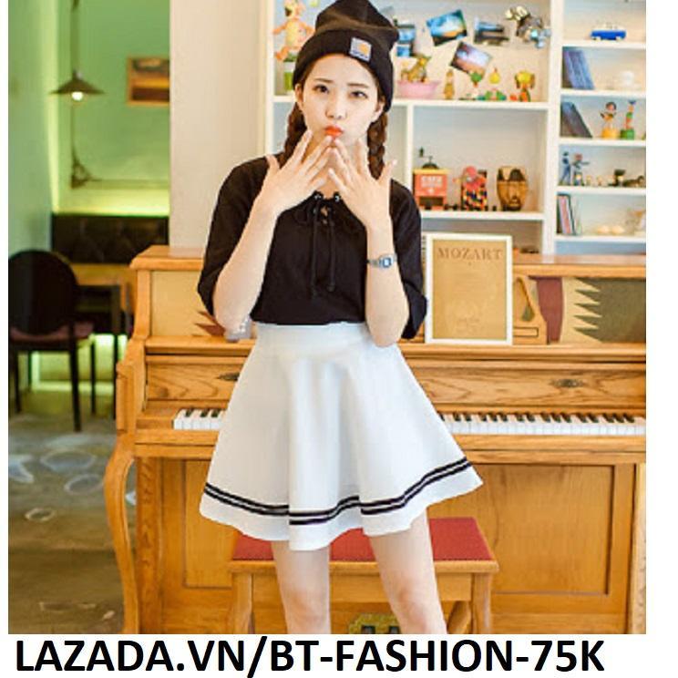 Chân Váy Xòe Lưng Thun Phối Viền Thời Trang Hàn Quốc - BT Fashion