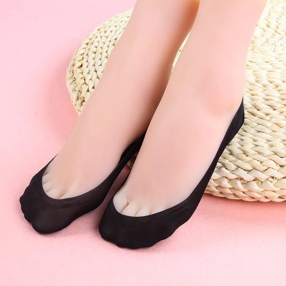6 đôi vớ lười nữ có silicon sau gót  ,chống trượt. ( màu da và đen )LOẠI 1
