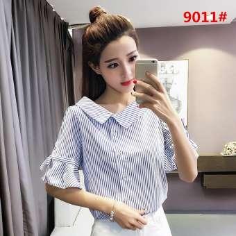 เสื้อเชิ้ตหญิงสไตล์เกาหลีสไตล์การออกแบบชนกลุ่มน้อยนางฟ้ามาก MAQuillAGE เสื้อผ้าแฟชั่น เสื้อคอวีสไตล์ฝรั่งสาวเสื้อเชิ้ตคอลเลคชั่นฤดูใบไม่ผลินางฟ้าพัดลม-