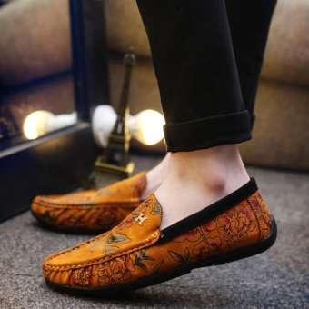 2019 สไตล์ใหม่ในฤดูใบไม้ร่วงใหม่รองเท้า Tods ชายสไตล์เกาหลีวัยรุ่นรองเท้าแฟชั่นแกะสลักรูปดอกไม้สีแดงรองเท้าคลุมเท้าคนขี้เกียจรองเท้าสำหรับขับขี่