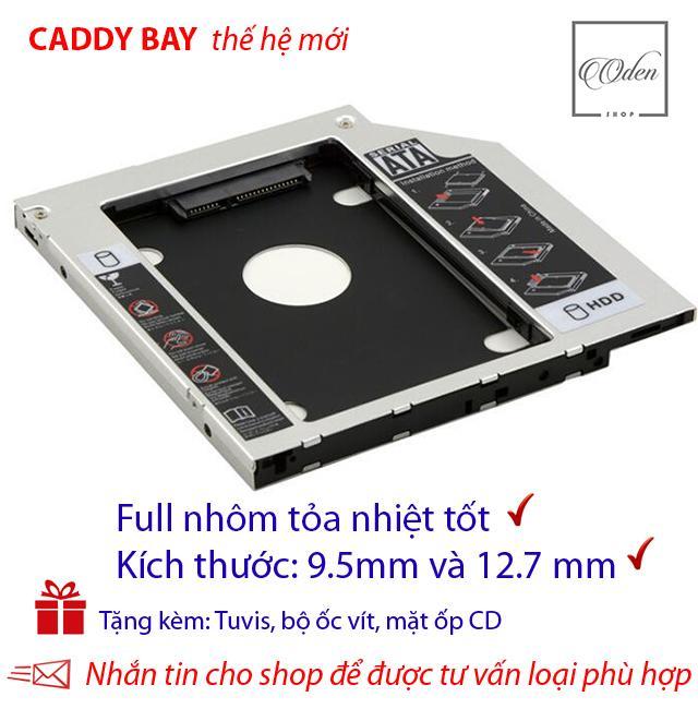 Khay gắn ổ Cứng SSD/HDD thứ 2 cho laptop - Full nhôm - mỏng 9.5 mm,SATA, Tặng tuvit & mặt ốp cd