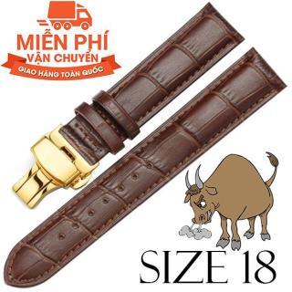 Dây đồng hồ da bò cao cấp SIZE 18mm (nâu) kèm khóa bướm thép không gỉ 316L (vàng) thumbnail
