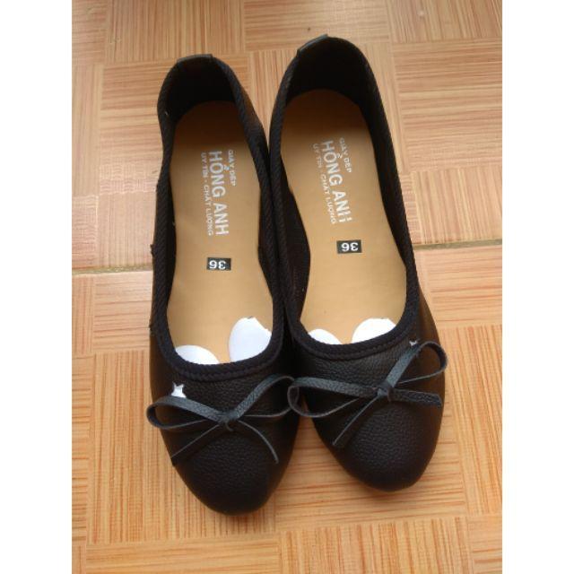 Giày búp bê đen da mềm