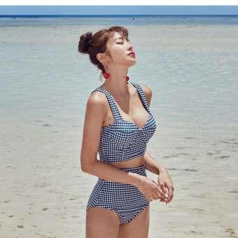สไตล์เกาหลีตารางข้างหลังผูกเชือกโบว์น่ารักเอวสูงชุดบิกินี่การแบ่งชุดว่ายน้ำหญิง