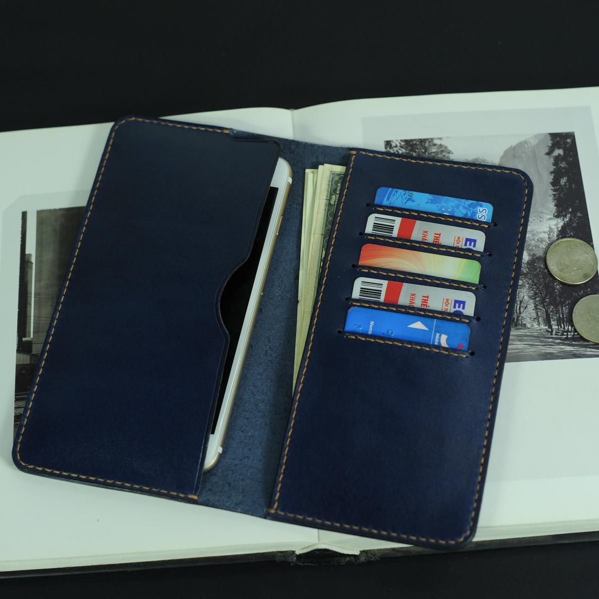 Ví dài cầm tay kèm ngăn để điện thoại- Đồ da Handmade - Da bò nhập khẩu VI561