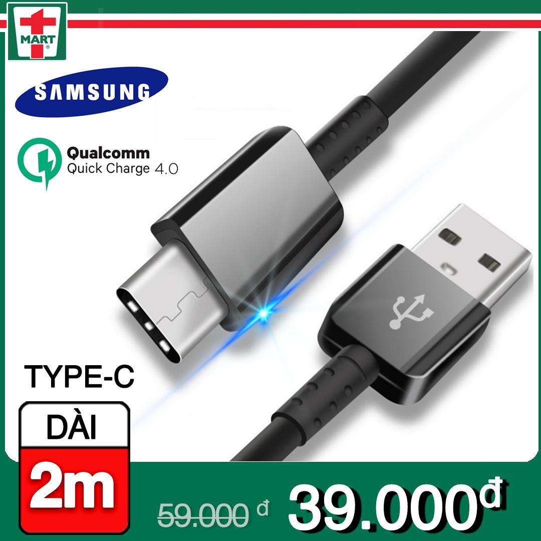 [DÀI 2M] Dây sạc USB Type C hỗ trợ sạc nhanh Qualcomm Quick Charge cho Samsung Galaxy Note 8/ S8/ S8 Plus 9/ 9 Plus và các máy có cổng Type-C - Hàng Samsung Việt Nam