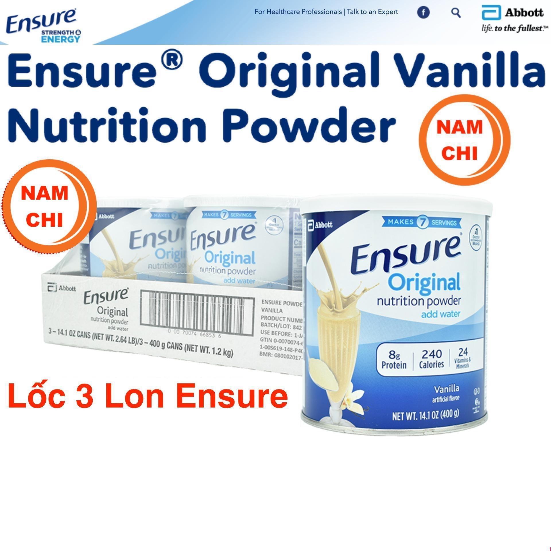 12 Lon Sữa bột Ensure Mỹ Original Nutrition Powder 397g ( 100% USA ) (Giá sỉ cho khách buôn )