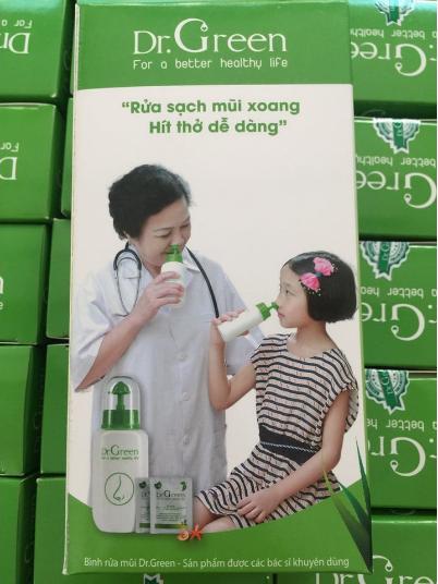 Bình rửa mũi Dr.Green kèm 10 gói muối nha đam