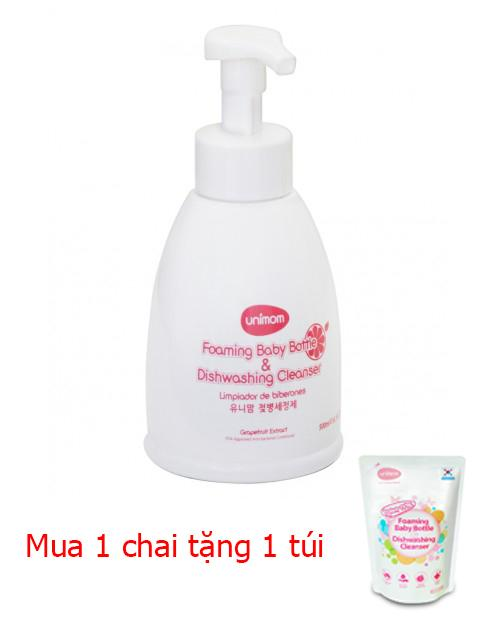Nước rửa bình sữa an toàn 500ml UNIMOM UM871173 tặng 1 túi 500ml