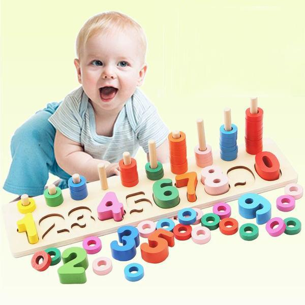 Bộ học chữ số kèm chơi đếm số bằng gỗ cho bé