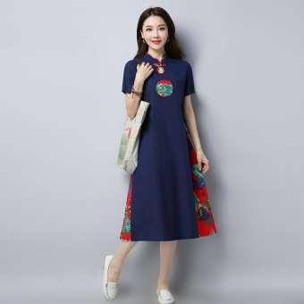 ชุดเดรสผู้หญิง ผ้าลินิน สไตล์วินเทจจีน (น้ำเงิน)