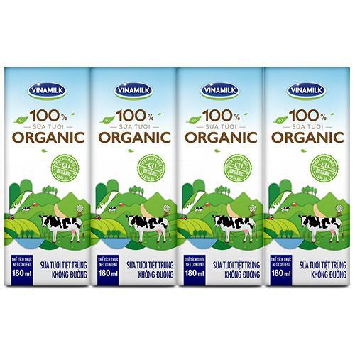 Sữa tiệt trùng Organic Vinamilk (hộp 180ml*4)