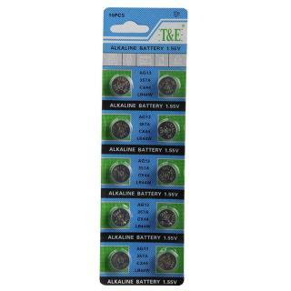 Vỉ 10 viên pin cúc áo Alkaline AG13 LR44 A76 SR44 thumbnail