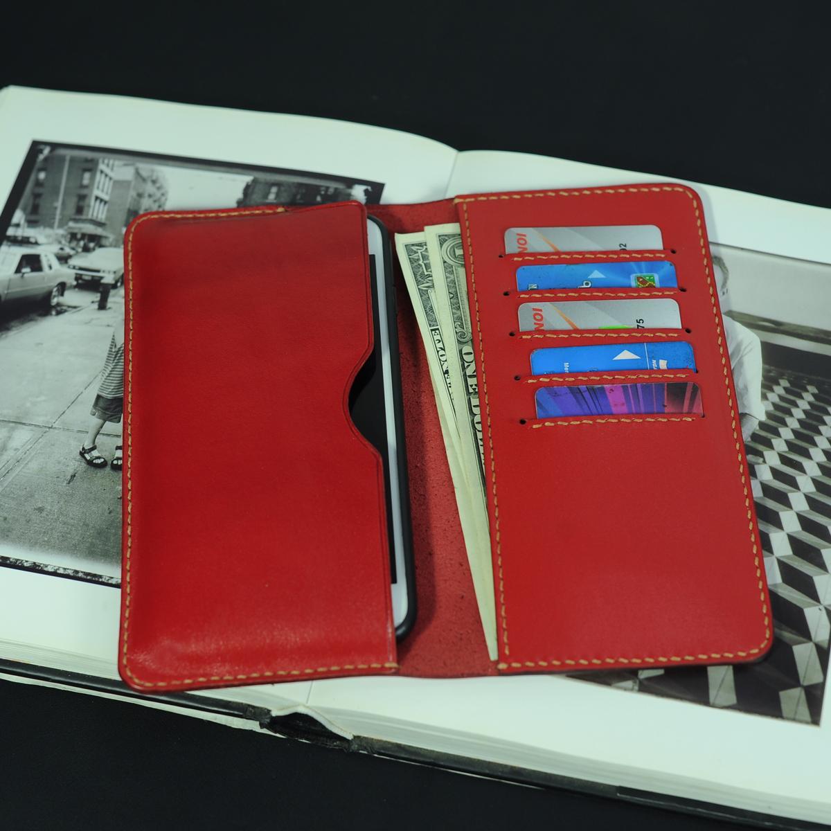 Ví dài cầm tay nữ kèm ngăn đựng điện thoại - Đồ da Handmade - Da bò nhập khẩu VI554