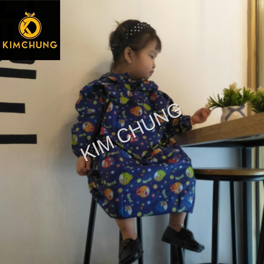 Áo mưa trùm trẻ em vải dù không thấm nước bé từ  4-6 tuổi (màu xanh)