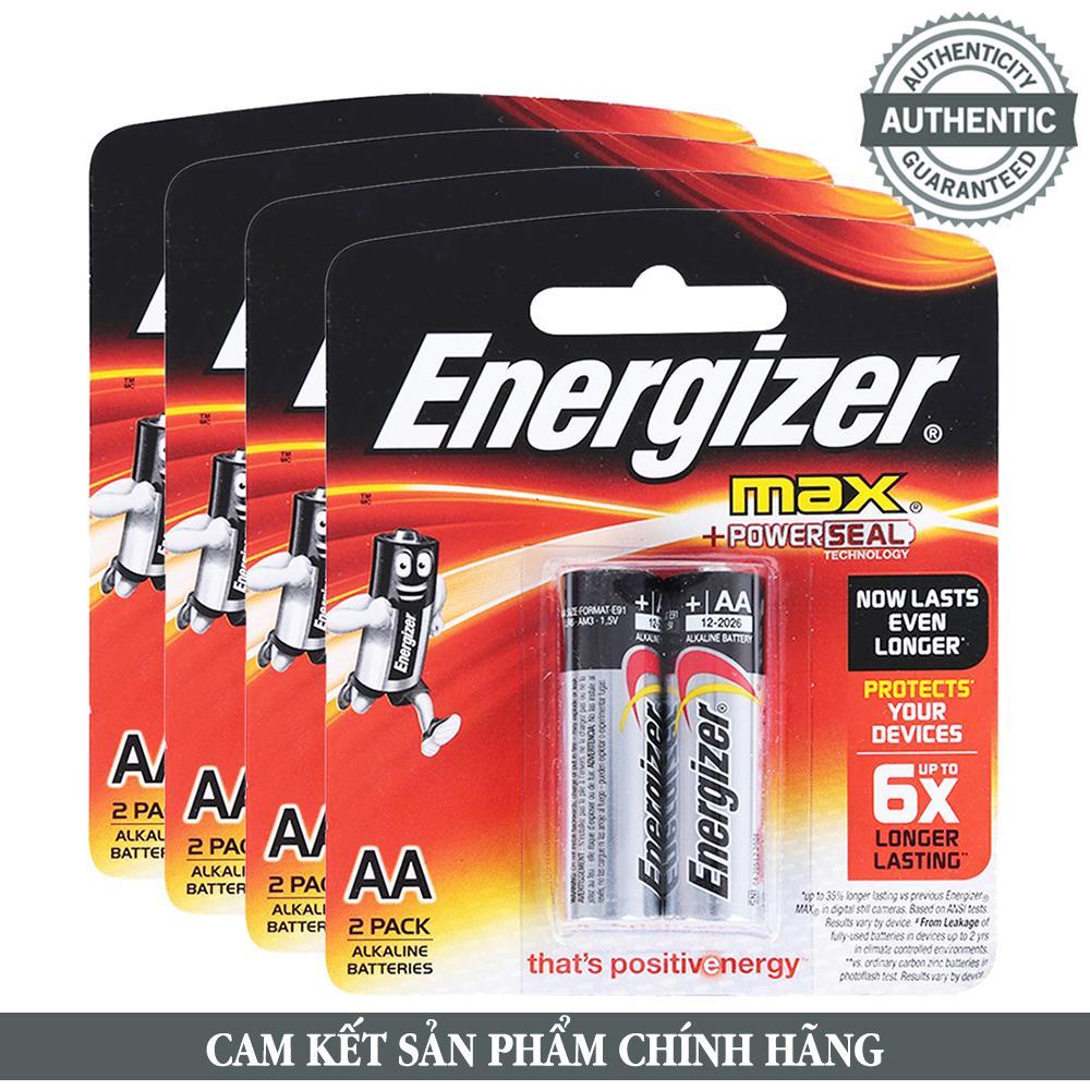 Bộ 8 pin AA Alkaline Energizer E91 chất lượng cao, tương thích mọi thiết bị