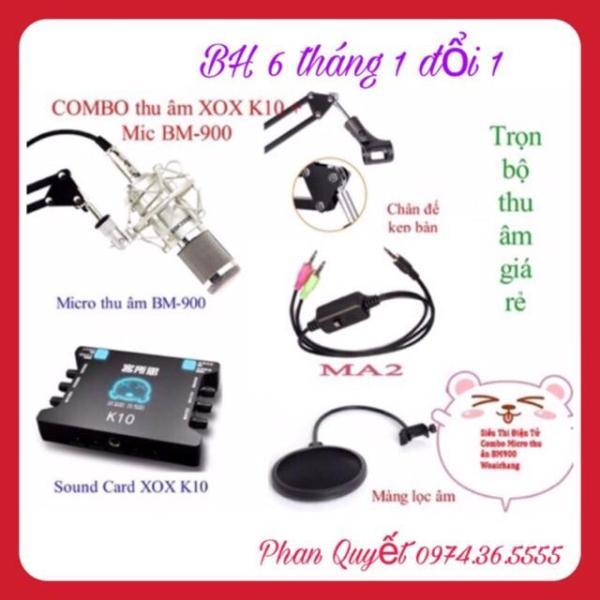 COMBO Bộ Livestream WOAICHANG BM900- Dây Live XOX K10- Chân Kẹp Míc- Màng Lọc Âm