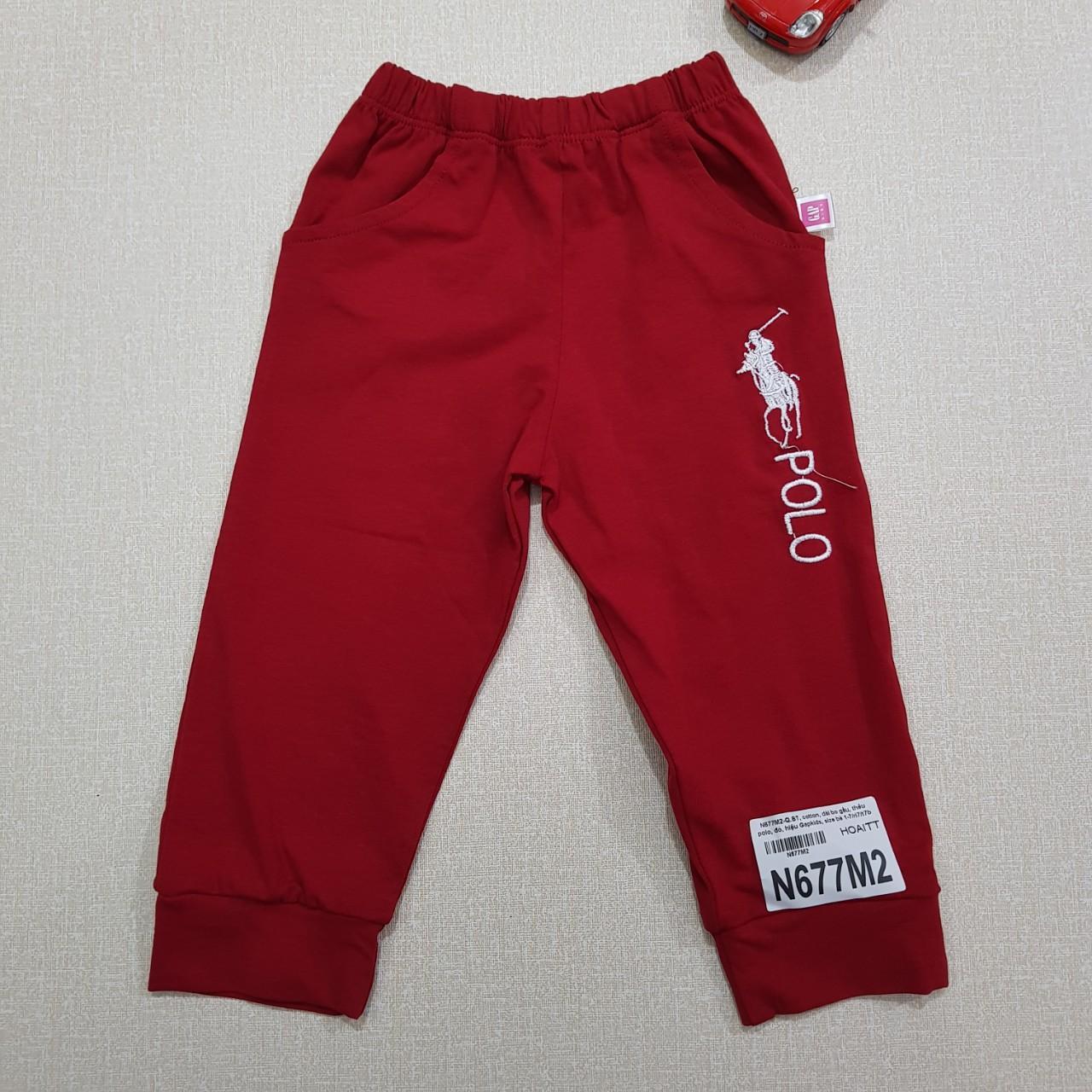 N677M2- Quần bé trai, cotton, dài bo gấu, thêu polo, đỏ, hiệu Gapkids, size bé 1-7/( Combo 7 sản phẩm từ nhỏ đến lớn )